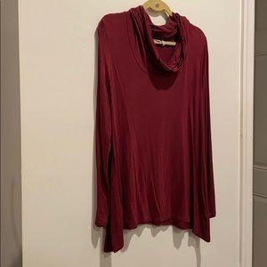LOGO maroon long shirt w cow neck large shirt